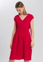 Linen Dress with ruffled seam at the waist