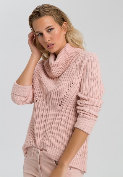Jumper with large rolled collar