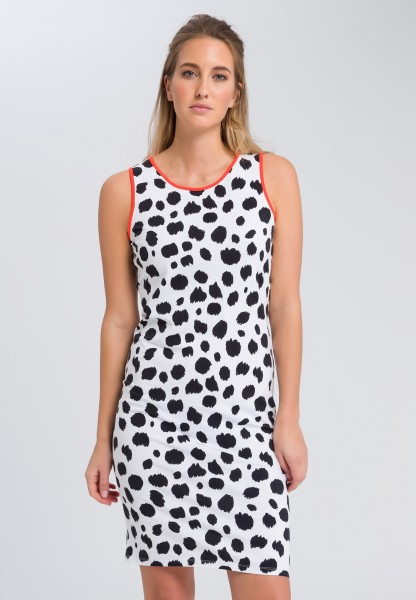 Tube dress with an all-over polka dot print