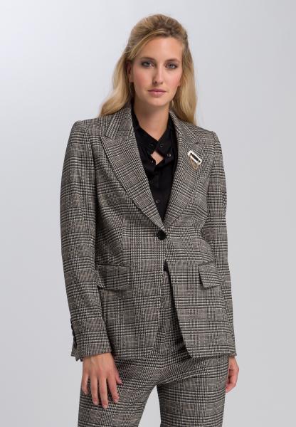 Blazer Made of Glencheck jersey with brooch