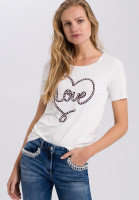 Shirt with love embroidery