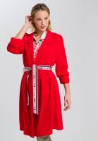 Coat from elastic satin