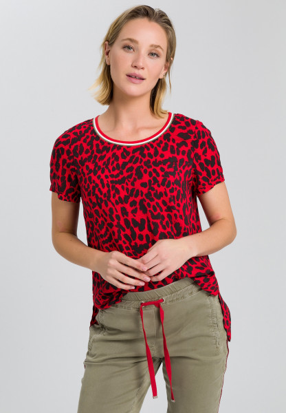 Blouse top with leopard pattern