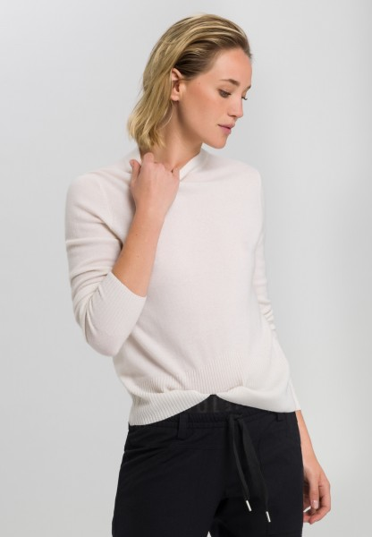 Cashmere jumper with upward ribbed cuffs