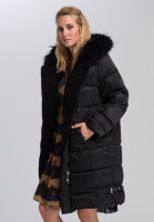 Outdoor coat In biker style with real fur