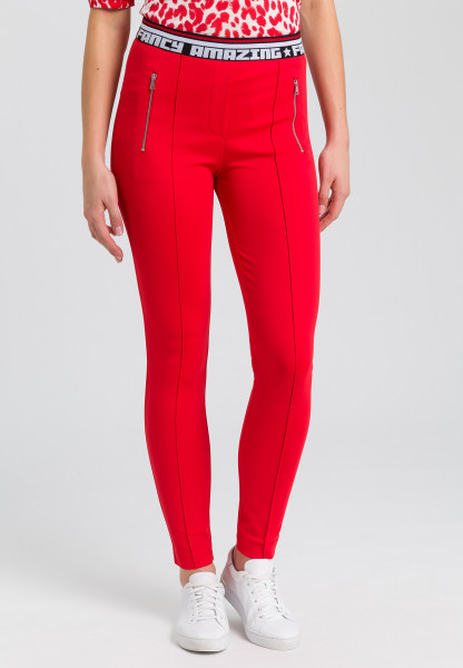 Jersey pants with writing cuffs