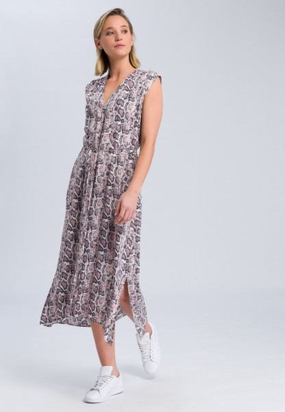 Dress with dark snake print