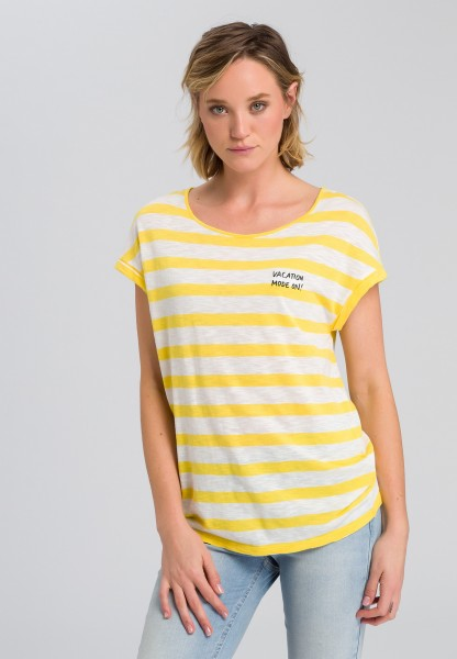 Striped shirt with motto embroidery
