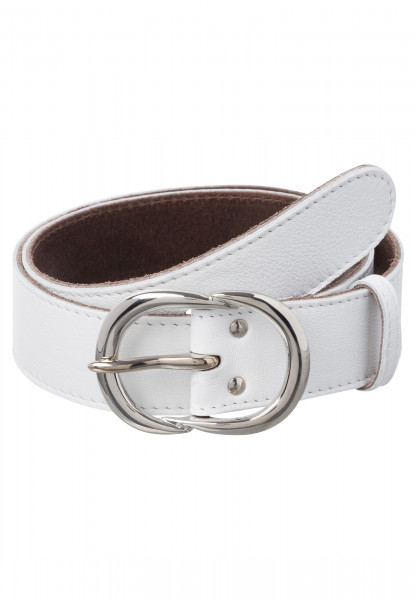 Leather belt with shiny metal buckle