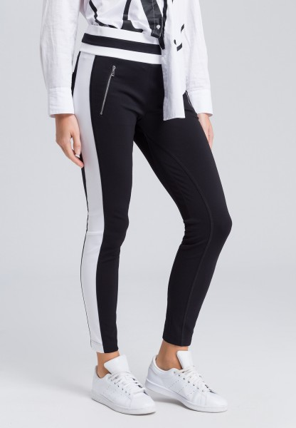 Jersey leggings with striped edging