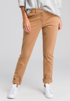 Chinese pants with lapel and contrast band