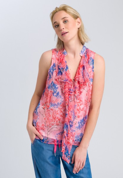 Blouse top with flounces