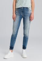 Blue jeans with batik hem