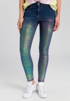Jeans with iridescent coating
