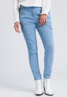 Pants with shiny decorative seams