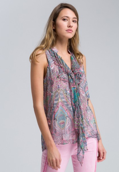 Top with flounces and paisley pattern