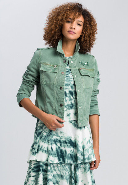 Denim jacket with sequin applications