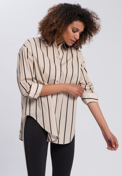 Shirt with stripe and motto print