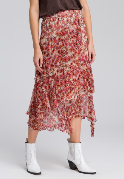 Midi skirt with floral pattern