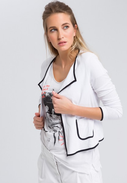 Jersey jacket with contrast piping