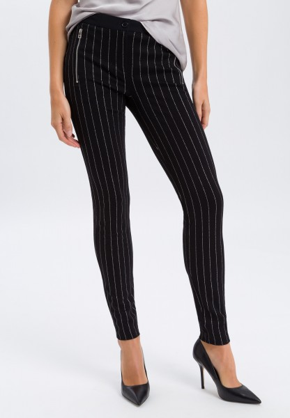 Leggings with shiny stripes