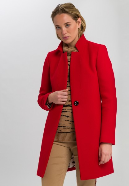 Wool coat with stand-up collar