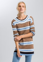 Knitted sweater with stripes