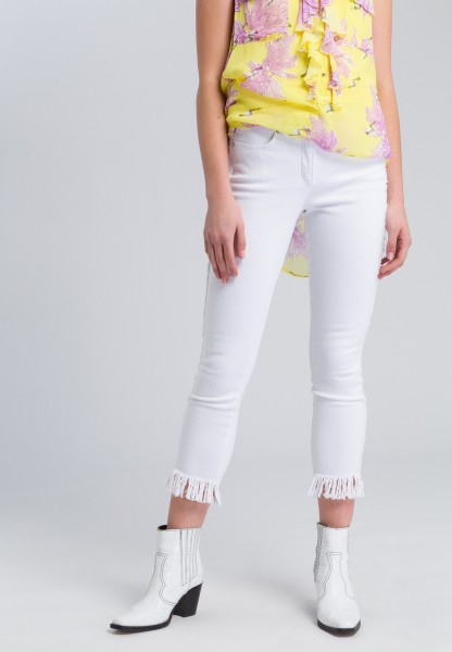 Drainpipe jeans with fringing