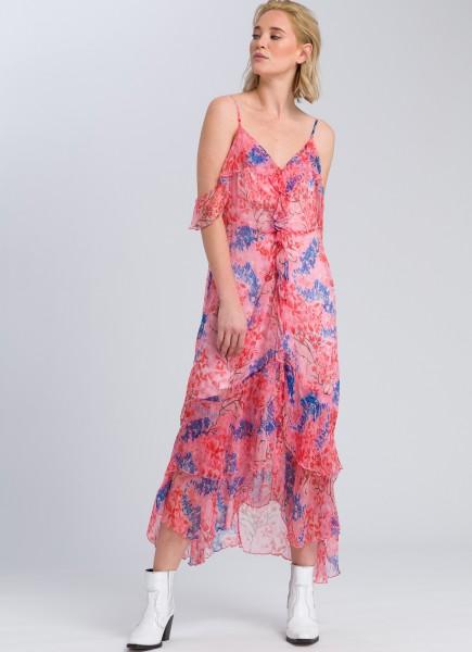 Flounce dress with a floral print