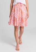 Ruffled skirt in batik print