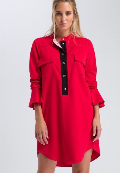 Blouse dress with flap pockets