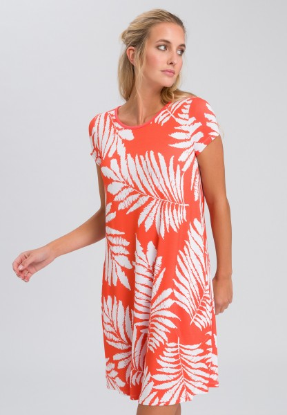 Jersey dress with leaf print