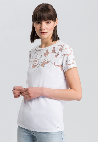T-shirt with transparent lace