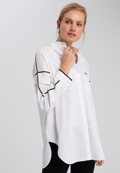 Shirt blouse with contrasting strips
