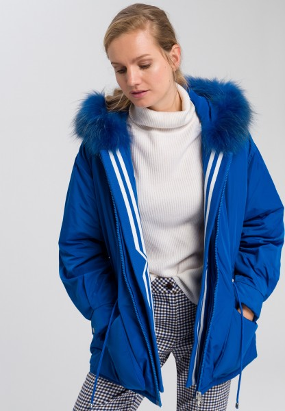 Outdoor jacket in oversized style with real fur