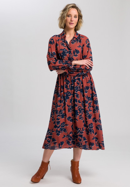 Shirt blouse dress with flower print