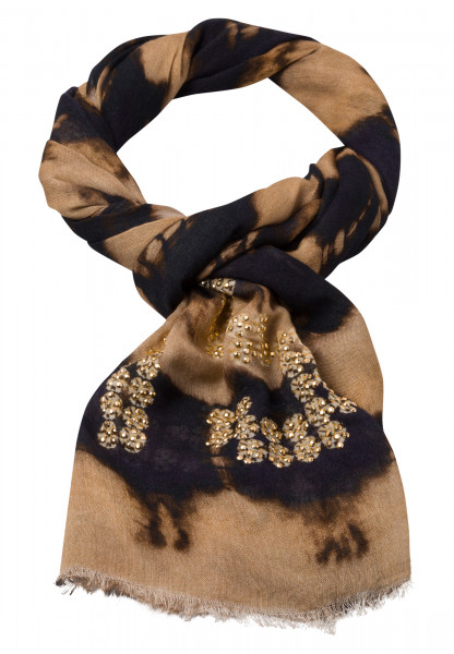 Rectangular scarf With batik stripe print