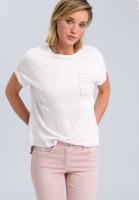 T-shirt with lace breast pocket