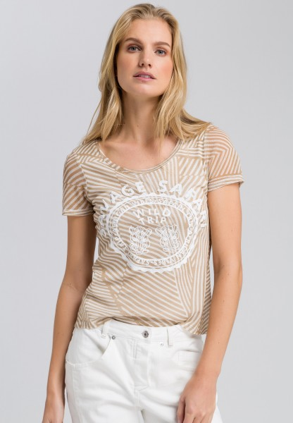 T-shirt with mesh inserts