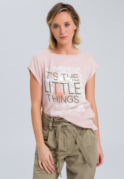 T-shirt with message patchwork print