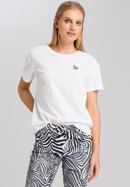 T-shirt with heart and zebra print
