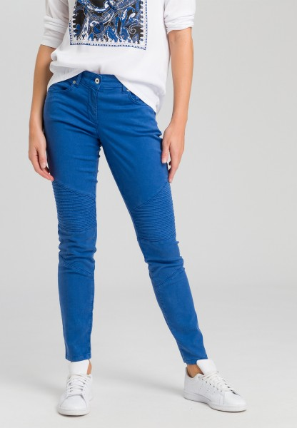 Biker trousers with decorative tuck inserts