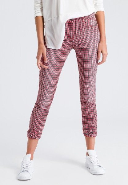 Trousers with a check pattern