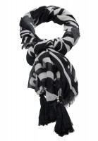 Rectangular scarf with zebra font patchwork