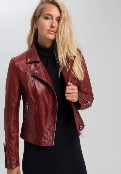 Patent leather jacket in biker style