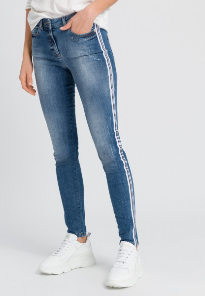 Blue jeans with side stripes