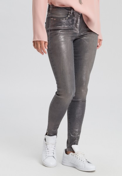 Jeans with metallic effects