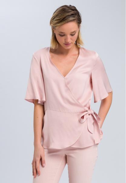 Wrap blouse in fine satin