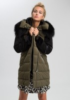 Outdoor coat in material mix with real fur
