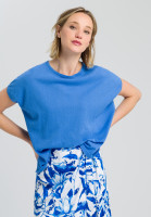 Poncho sweater with ottoman structure